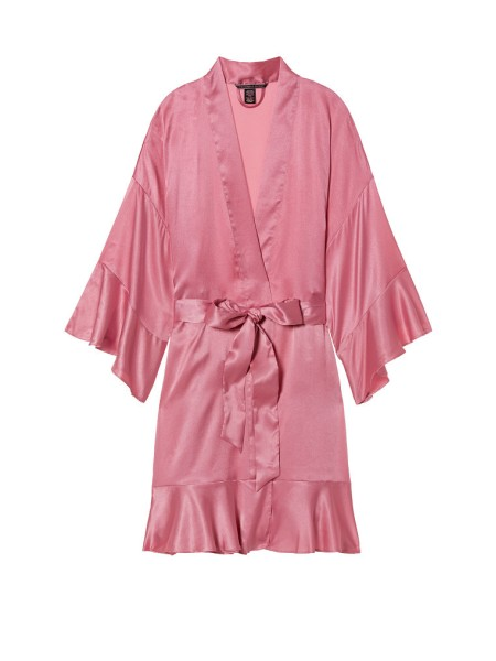 Сатиновый халат Victoria's Secret Satin Robe Pink