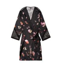 Сатиновый халат Victoria's Secret Very Sexy Satin Kimono Black Lace