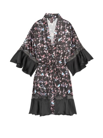 Сатиновый халат Victoria's Secret Very Sexy Satin Kimono Floral Lace