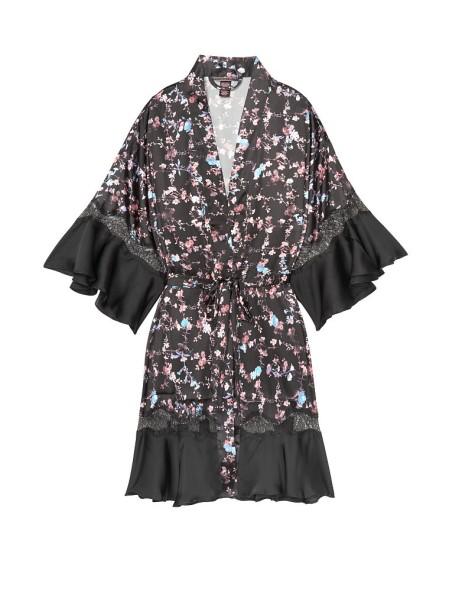 Сатиновый халат Victoria's Secret Very Sexy Satin Kimono Floral Lace