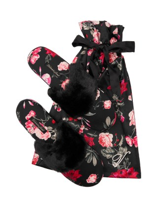 Домашние тапочки Victoria's Secret Satin Black Floral print