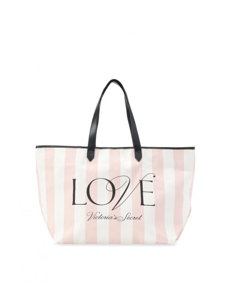Пляжная сумка Victoria's Secret Signature Striped Pink Beach Tote LOVE