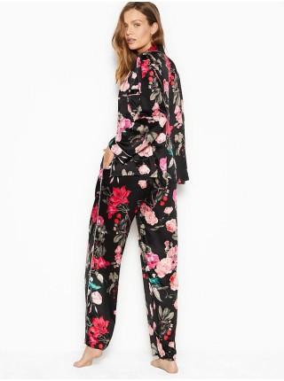 Пижама Victoria's Secret Satin Long PJ Set Light Black Floral print