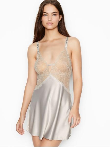 Пеньюар Victoria's Secret Embellished Strap Satin Lace Slip