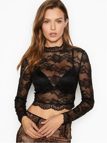 Кружевное боди Victoria's Secret Stretch Lace Mock Neck Crop Top