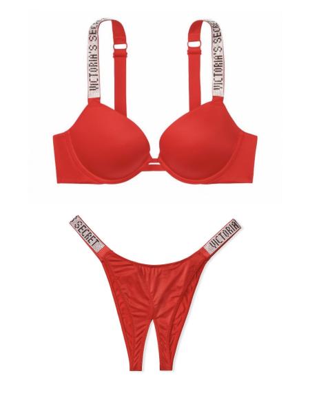 Комплект белья Victoria's Secret Very Sexy Embellished Strap Push-up Bra set Lipstick❤️