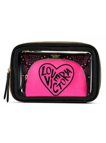 3 в 1 косметичка Victoria's Secret Beauty Bag Trio GRAPHIC LOVE