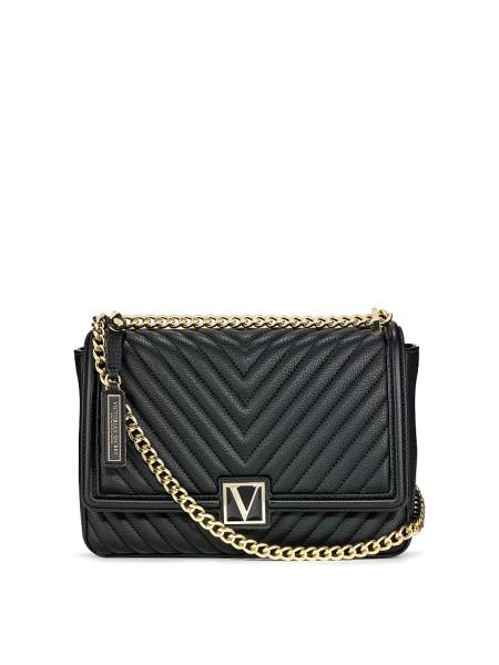 Кросс-боди Victoria's Secret The Victoria Medium Shoulder Bag V-Quilt Black Lily