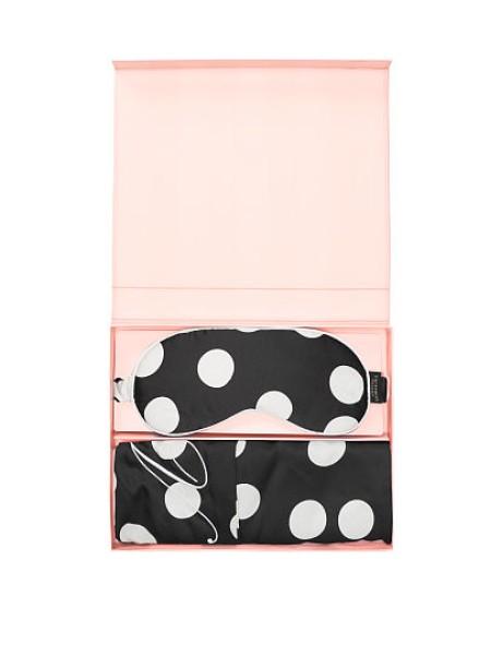 Victoria's Secret Satin Pillowcase & Eye Mask Gift Set White&Black Dot