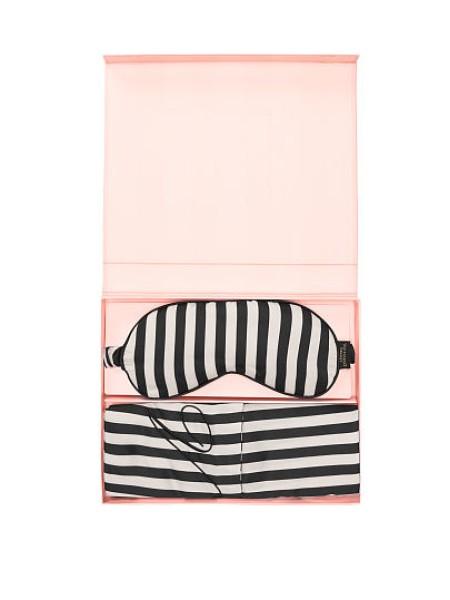 Victoria's Secret Satin Pillowcase & Eye Mask Gift Set White&Black Stripes