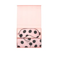 Victoria's Secret Satin Pillowcase & Eye Mask Gift Set Pink&Black Dot