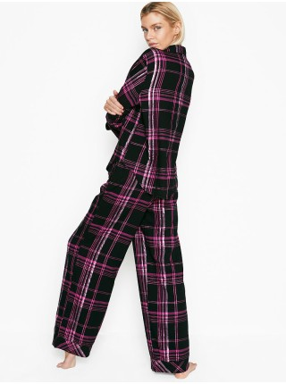 Пижама Victoria's Secret Shimmer Flannel Long PJ Set Black/Hot Pink