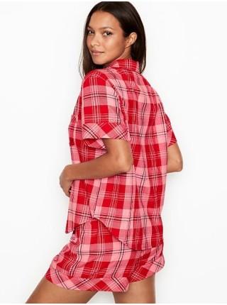 Пижама Victoria's SecretFlannel Short PJ Set Light Red Plaid