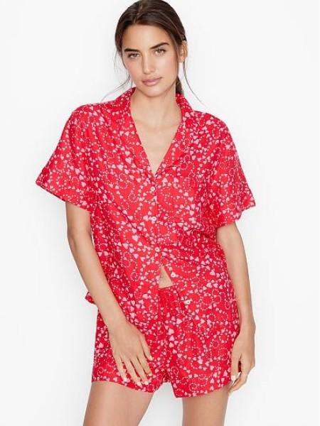Пижама Victoria's SecretFlannel Short PJ Set Red print pink hearts