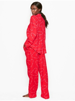 Пижама Victoria's Secret Shimmer Flannel Long PJ Set Print Red Heart VS