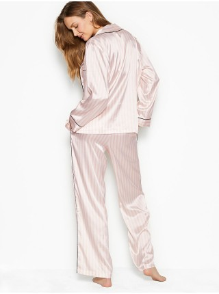 Пижама розовая в полоску VS The Satin Long PJ Set Light Pink Stripe