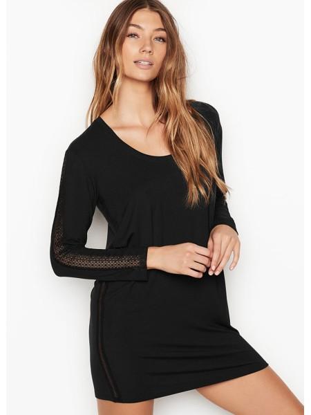 Ночная рубашка  с кружевом Victoria's Secret Modal Lace Black