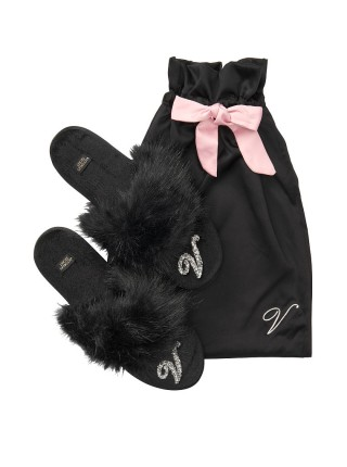 Домашние тапочки Victoria's Secret Slippers Velvet Logo V