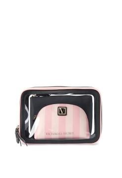 3 в 1 косметичка Victoria's Secret Beauty Bag Trio Signature Stripe