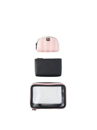 3 в 1 косметичка Victoria's Secret Beauty Bag Trio Signature Stripe