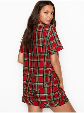 Пижама Victoria's Secret ShimmerFlannel Short PJ Set Red/Green