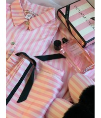 Пижама розовая в полоску Victoria's Secret Signature Stripes The Satin PJ Set