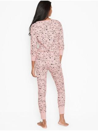 Пижама Victoria's Secret Thermal Long PJ Set Pink Starry Sky
