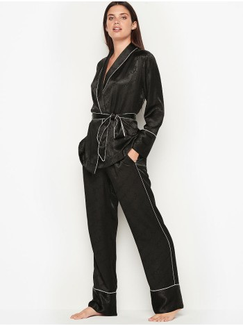 Пижама Victoria's Secret The Satin Black logo PJ Set
