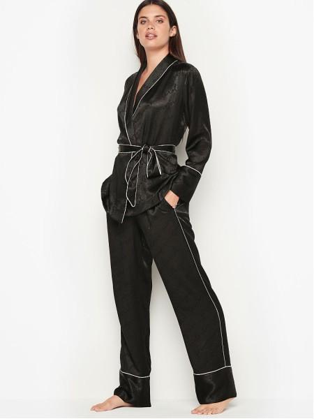 Пижама Victoria's Secret The Satin Black logo PJ Set