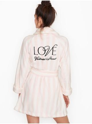 Халат Victoria's Secret Logo Short Cozy Robe Pink Stripe