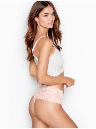Трусики Victoria's Secret High-rise Thong panty Beige Floral Lace
