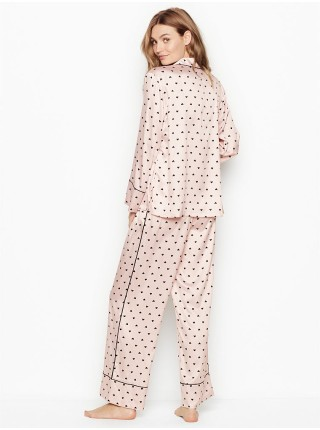 Пижама Victoria's Secret Satin Long PJ Set Light Pink With Black Hearts
