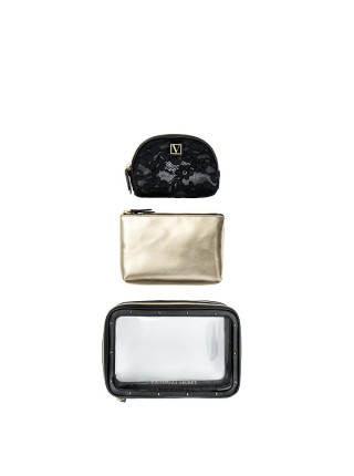 3 в 1 косметичка Victoria's Secret Beauty Bag Trio Black Lily Lace