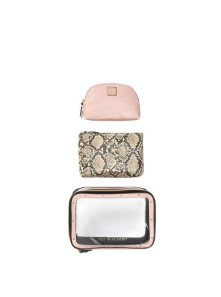 3 в 1 косметичка Victoria's Secret Backstage Nested Trio Cosmetic Bag Snake print