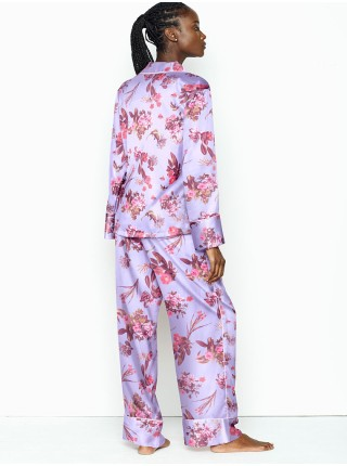Сатиновая пижама Victoria's Secret Satin Long PJ Set Feather Blue Field Blossoms
