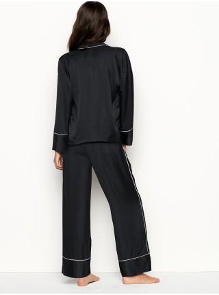 Сатиновая пижама Victoria's Secret Black Satin Long PJ Set