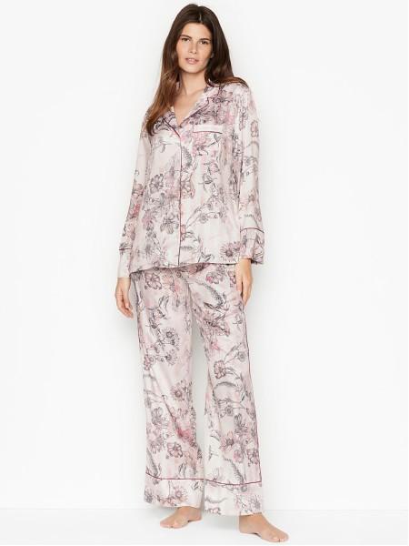 Сатиновая пижама Victoria's Secret Satin Long PJ Set Pink Floral Stripes