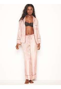 Пижама розовая в полоску Victoria's Secret - The Satin Long PJ Set Pink Fizz