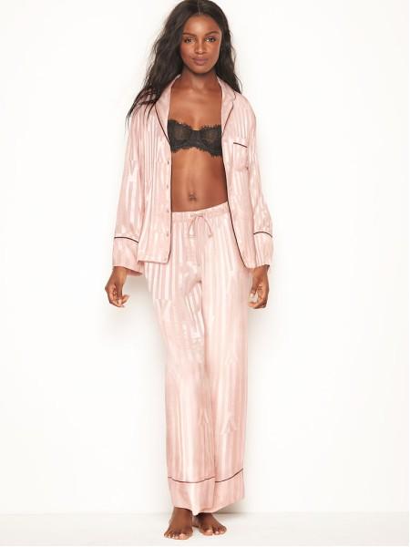 Пижама розовая в полоску Victoria's Secret - The Satin Long PJ Set Pink Fizz