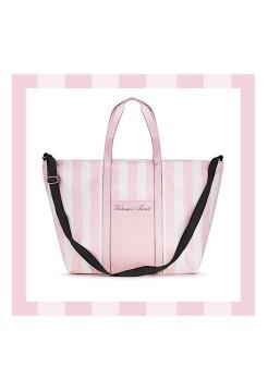 Пляжная сумка Victoria's Secret Signature Striped Pink Beach Tote