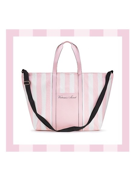 Пляжная сумка Victoria's Secret Signature Striped Pink Beach Tote