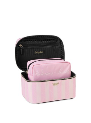 Бьюти кейс VICTORIA'S SECRET Signature Stripe Runway Train Case