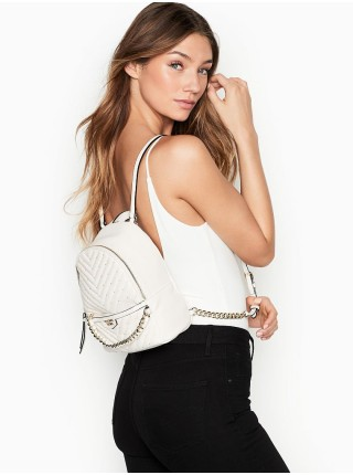 Рюкзак Victoria's Secret Embellished V-Quilt Small City Backpack Real White