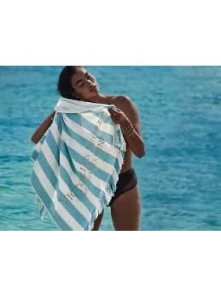 Полотенце для пляжа Victoria's Secret принт синяя полоска и золотом вышит VS logo