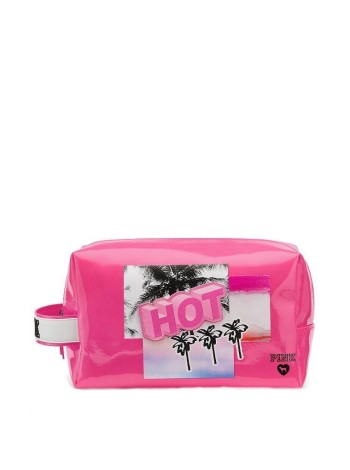 Косметичка Victoria's Secret HOT PINK принт пальмы