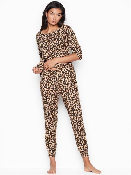 Пижама Victoria's Secret Animal print Leopard Super soft Long PJ Set