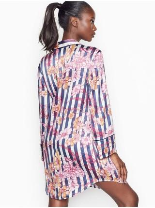 Ночная рубашка Victoria's Secret Satin Slip Blue Stripes Floral print