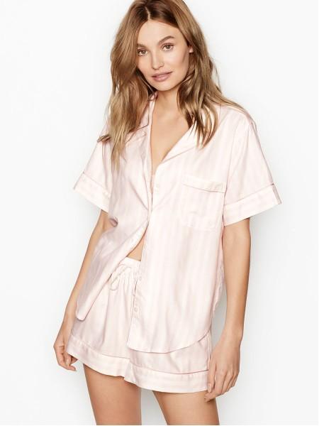 Пижамка с шортиками Victoria's Secret Sleepsoft Short PJ Set White Pink Fizz Stripe