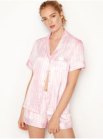 Пижама розовая в полоску Victoria's Secret The Satin White/Pink Medium Stripe Short PJ Set