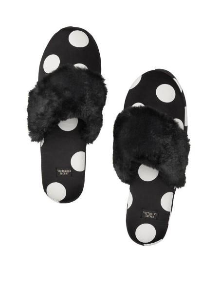 Домашние тапочки Victoria's Secret Slippers Black White Dot